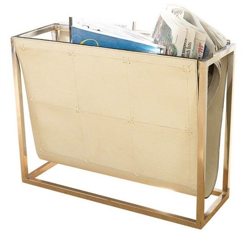 Magazine Caddy-Beige Leather - GDH | The decorators department Store