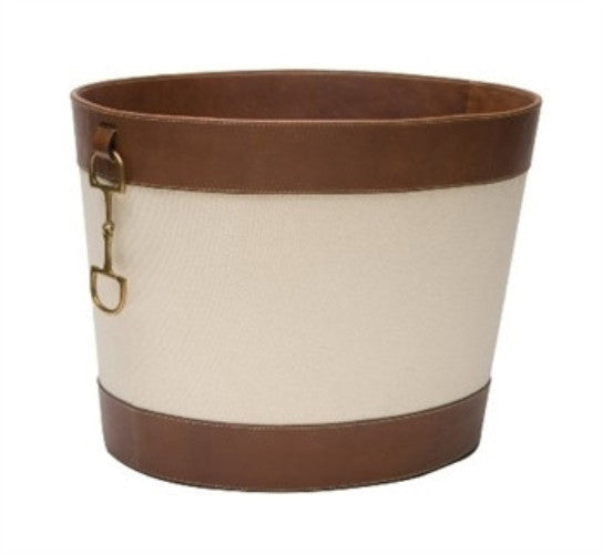 Stirrup Detail Log Holder-Canvas and Brown Leather - GDH | The decorators department Store