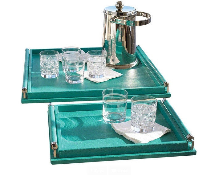Wrapped Handle Tray- Turquoise - GDH | The decorators department Store