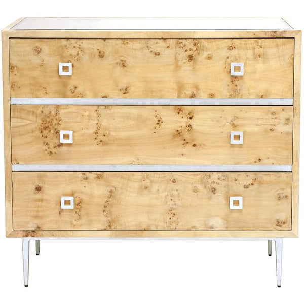 Hudson Burlwood 3-Drawer Chest | Silver - GDH | The decorators department Store