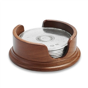 Match Pewter Round Coasters with Wood Base, Set of 6 - GDH | The decorators department Store