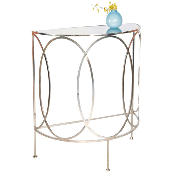 Antoine Oval Console with Antique Mirror Top | Silver