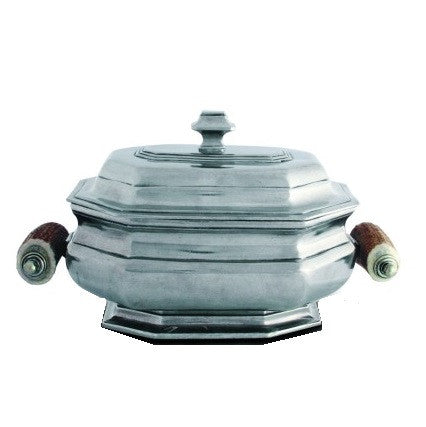 Old World Pewter Soup Tureen with Antler Handles