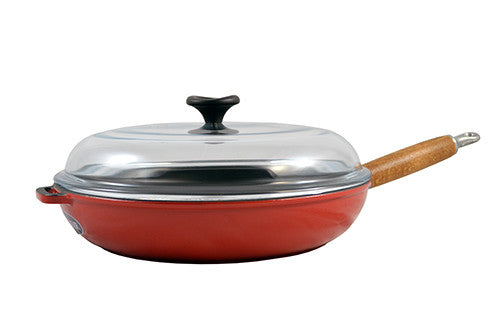 Red Frying Pan with Wood Handle and Glass Lid - GDH | The decorators department Store