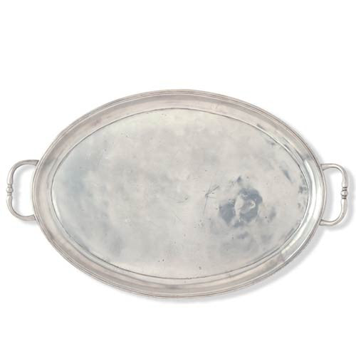 Match Pewter Oval Tray with Handles Medium - GDH | The decorators department Store