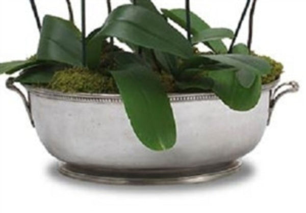 Beaded Footed Oval Basin by Match Pewter - GDH | The decorators department Store