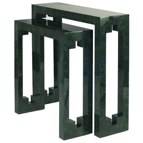 Console Table in Malachite with Cutout Detail on Side