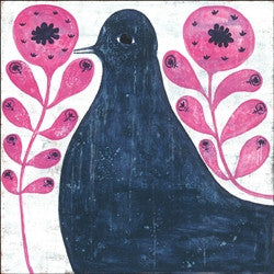 Black Bird In Flowers Art Print 36 x 36 - GDH | The decorators department Store
