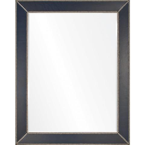 Blue Leather & Silver Nailhead Mirrorr by Barclay Butera