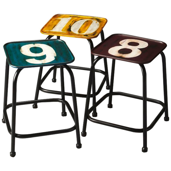 Trio Industrial Chic Stool Set