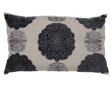Grey - Natural Linen/Charcoal Embroidery - GDH | The decorators department Store