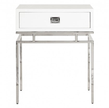 Cayson 1 Drawer Nickel Side Table | White - GDH | The decorators department Store