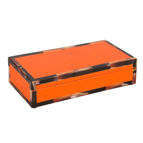 CHEVAL RECTANGULAR BOX, ORANGE - GDH | The decorators department Store