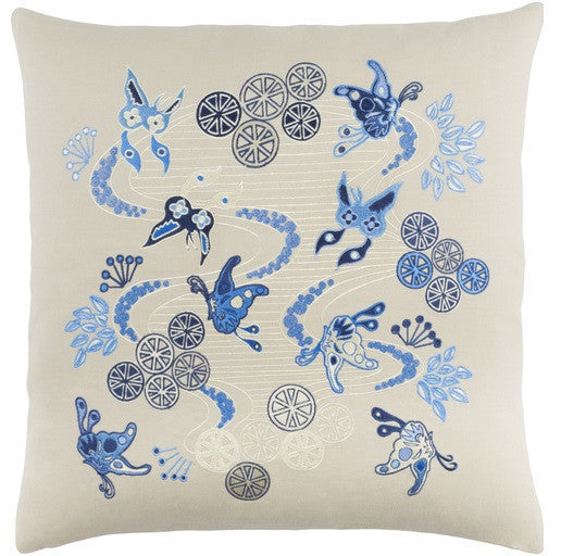 Chinese River Pillow  Blue - GDH | The decorators department Store