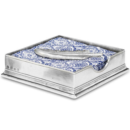 Match Pewter Cocktail Napkin Box with Feather - GDH | The decorators department Store