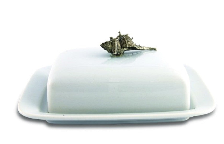 Conch Shell Stoneware and Pewter Butter Dish - GDH | The decorators department Store