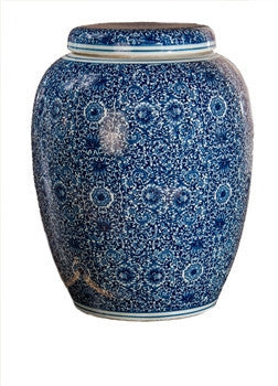 Blue and White Garden Seat Jar - GDH | The decorators department Store