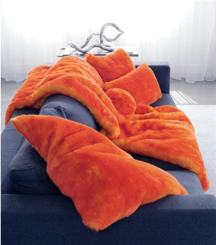 Orange Faux Fur Throw by Evelyne Prelonge - GDH | The decorators department Store