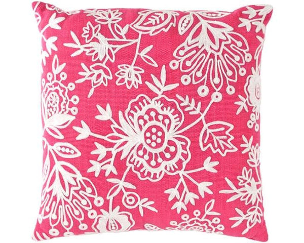 Pink Floral Crewel Indoor Outdoor Pillow - GDH | The decorators department Store