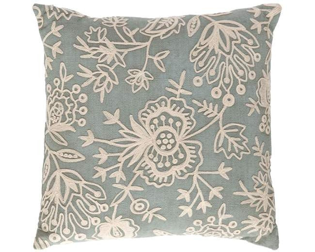 Light Blue Floral Crewel Indoor Outdoor Pillow - GDH | The decorators department Store