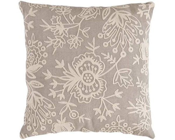 Grey Fresh American Floral Crewel Indoor Outdoor Pillow - GDH | The decorators department Store