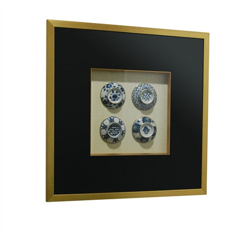 FRAMED Blue and White TEA LIDS - GDH | The decorators department Store