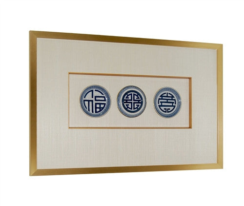 FRAMED SET OF 3 Blue and White PLATES - GDH | The decorators department Store