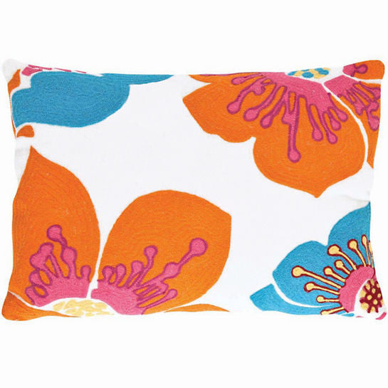 Fresh American Trumpet Turquoise/Tangerine Indoor/Outdoor Pillow