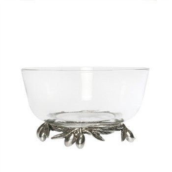 Olive Grove Glass & Pewter Bowl - GDH | The decorators department Store