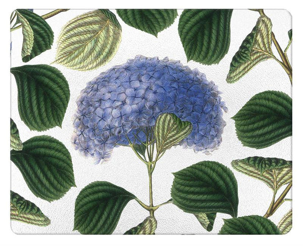 Hydrangea with Leaves Glass Cutting Board