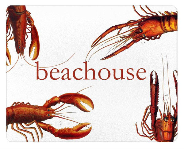 Antique Lobsters beachouse Glass Cutting Board