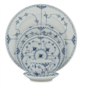 Blue Fluted Half Lace Dinnerware-5 Piece Place Setting - GDH | The decorators department Store