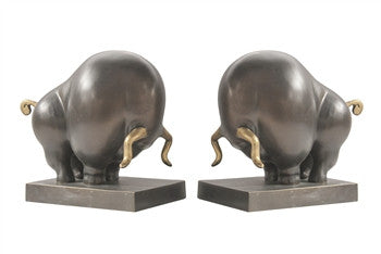 Bronzed Bull Bookends - GDH | The decorators department Store