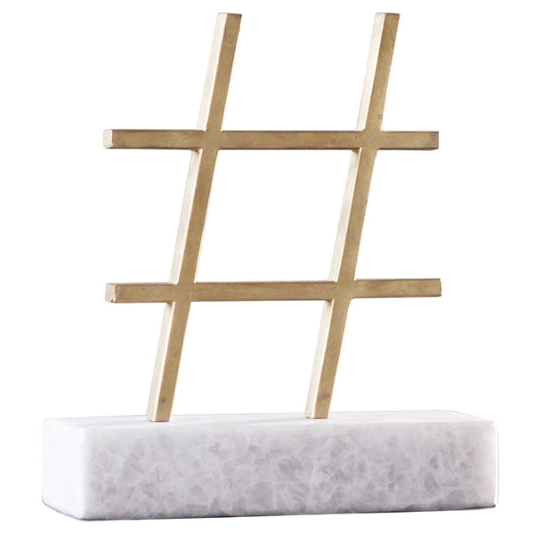 Hashtag Gold Decorative Object