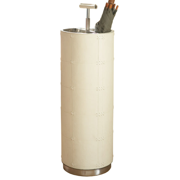 leather and metal tall umbrella stand beige
