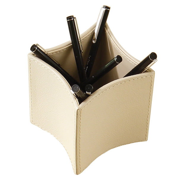 Global Views Folded Ivory Leather Pencil Cup
