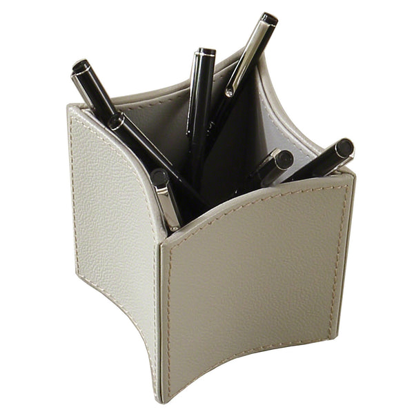 Global Views Folded Gray Leather Pencil Cup