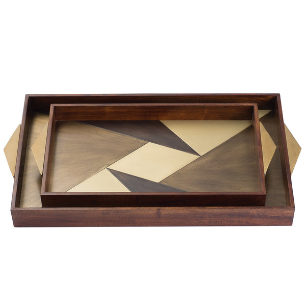 DwellStudio Aledo Brown Tray S/2