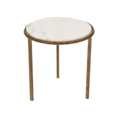Hammered Gold Round Accent Table