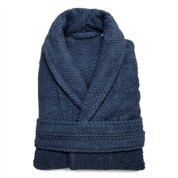 herringbone-bathrobe-midnight-blue - GDH | The decorators department Store