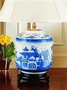 Mottahedeh Blue Canton Temple Lamp - GDH | The decorators department Store