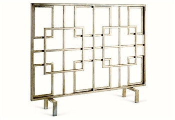 Antique Silver Squares Firescreen - GDH | The decorators department Store