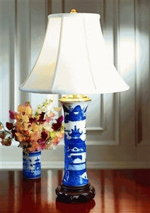 Mottahedeh | Blue Canton Trumpet Lamp - GDH | The decorators department Store