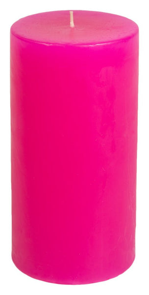 Classic Hurricane Pillar Candles (Pair) | Hot Pink