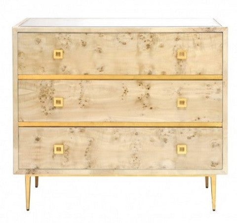 Hudson Burlwood 3-Drawer Chest | Gold - GDH | The decorators department Store