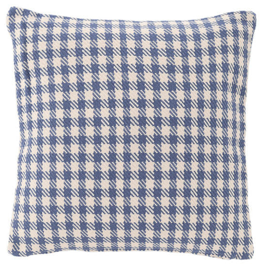 Houndstooth Denim/Ivory Indoor/Outdoor Pillow