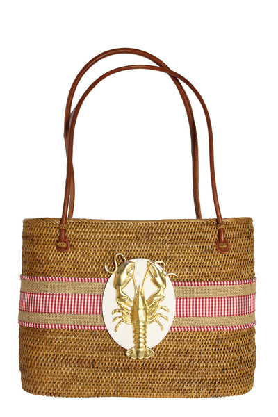 Large Oval Bali Burlap Check Lobster