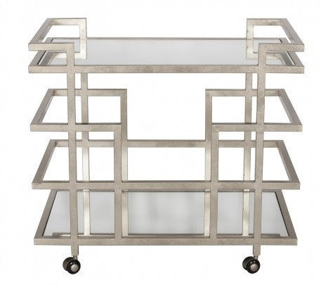 World's Away | Ireland Bar Cart-Silver - GDH | The decorators department Store