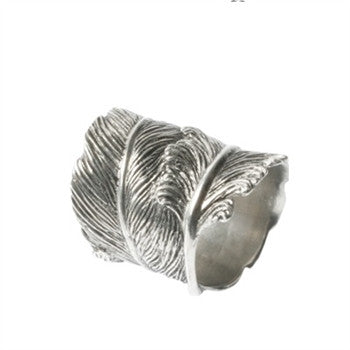 Pewter Feather Napkin Ring S/4 - GDH | The decorators department Store