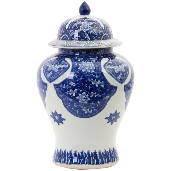 Khan Temple Jar in Blue and White - GDH | The decorators department Store